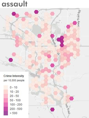 Calgary crime map for Assaults