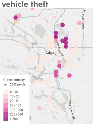 Calgary crime map for Vehicle Theft